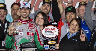 Michael Self celebrates winning the Lucas Oil 200 Driven By General Tire in Gatorade Victory Lane for the ARCA Menards Series at Daytona International Speedway on Saturday, Feb. 8, 2020.