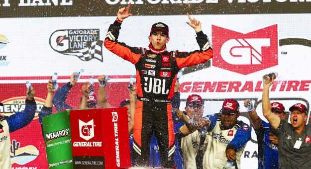 PHOENIX, AZ - MARCH 06:  Chandler Smith, driver of the #20 JBL Toyota, celebrate sin victory lane after winning the ARCA Menards General Tire 150 on March 6, 2020 at Phoenix Raceway in Phoenix, Arizona. (Adam Glanzman/ARCA Racing)