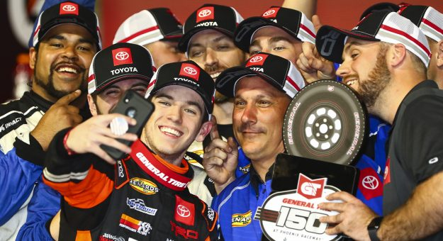 PHOENIX, AZ - MARCH 06:  Chandler Smith, driver of the #20 JBL Toyota, celebrates in victory lane after winning the ARCA Menards General Tire 150 on March 6, 2020 at Phoenix Raceway in Phoenix, Arizona. (Adam Glanzman/ARCA Racing)