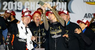 #15: Christian Eckes, Toyota Camry JBL Audio celebrates the race win and championship