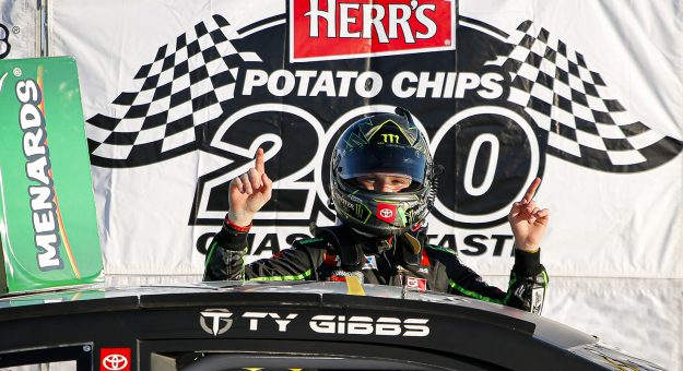 Ty Gibbs, Toyota Camry, Monster / Terrible Herbst / ORCA Coolers celebrates winning the Herr's Potato Chips 200 presented by Federated Car Care for the ARCA Racing Series presented by Menards at Toledo Speedway on Saturday, June 13, 2020. (Barry Cantrell/ARCA Racing)