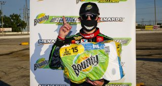 Ty Gibbs celebrates winning the Herr's Potato Chips 200 presented by Federated Car Care for the ARCA Menards Series East at Toledo Speedway on Saturday, June 13, 2020. (Barry Cantrell/ARCA Racing)
