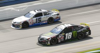 TALLADEGA, AL - JUNE 20:  Riley Herbst, driver of the #18 Monster / Terrible Herbst / ORCA Toyota, and Drew Dollar, driver of the #15 Lynx Capital / Dollar Concrete Toyota, race during the General Tire 200 at Talladega Superspeedway for the ARCA Menards Series on Saturday, June 20, 2020. (Adam Glanzman/ARCA Racing)