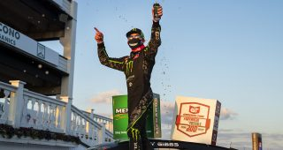 Ty Gibbs, driver of the #18 Monster / Terrible Herbst / ORCA Toyota, celebrates in victory lane after winning the the General Tire #AnywhereisPossible 200 for the ARCA Menards Series at Pocono Raceway in Long Pond, Pennsylvania on Friday, June 26, 2020. (Adam Glanzman/ARCA Racing)
