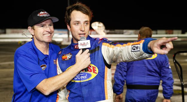 Trevor Huddleston #9 is interviewed after winning the NASCAR K&N Pro Series West ENEOS Napa Auto 150 on March 30, 2019 at Irwindale Speedway in Irwindale, California.