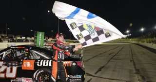 Chandler Smith, driver of the #20 JBL Audio Toyota, after winning the Calypso Lemonade 200 for the ARCA Menards Series at Lucas Oil Raceway in Brownsburg, Indiana on Friday, July 3, 2020. (AJ Mast/ARCA Racing)