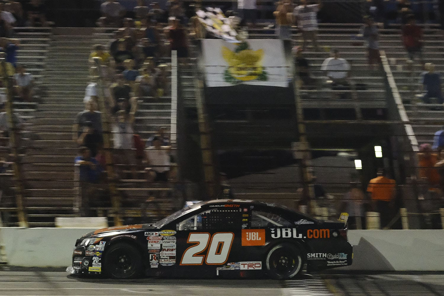 Chandler Smith, driver of the #20 JBL Audio Toyota, wins the Calypso Lemonade 200 for the ARCA Menards Series at Lucas Oil Raceway in Brownsburg, Indiana on Friday, July 3, 2020. (AJ Mast/ARCA Racing)