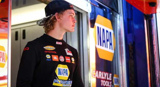 Jesse Love, driver of the #19 NAPA Power Premium Plus Toyota, at the ENEOS 125 presented by NAPA Auto Parts as part of the ARCA Menards Series West held at Irwindale Speedway in Irwindale, Calif. on July 4, 2020.