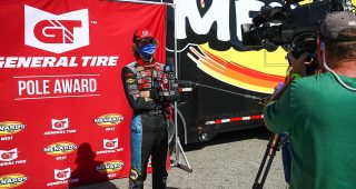 Jesse Love, driver of the #19 NAPA Power Premium Plus Toyota, wins the pole award at the ENEOS 125 presented by NAPA Auto Parts as part of the ARCA Menards Series West held at Irwindale Speedway in Irwindale, Calif. on July 4, 2020.