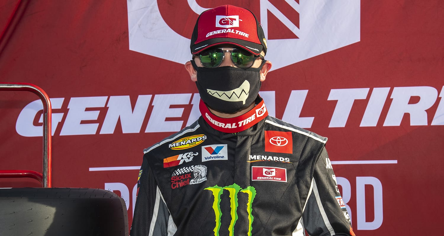 Ty Gibbs, driver of the #18 Monster / Terrible Herbst / ORCA Toyota, poses for the Pole Award after the qualifying of the Menards.com 200 presented by SPxE for the ARCA Menards series on July 31, 2020 at at Toledo Speedway in Toledo, Ohio. (Nic Antaya/ARCA Racing)