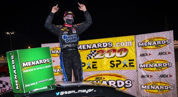 Sam Mayer, driver of the #21 Chevy Accessories Chevrolet, celebrates his win in Victory Lane during the Menards.com 200 presented by SPxE for the ARCA Menards series on July 31, 2020 at at Toledo Speedway in Toledo, Ohio. (Nic Antaya/ARCA Racing)