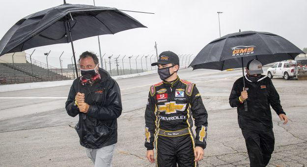 Sam Mayer, driver of the #21 Chevy Accessories Chevrolet, walks to Victory Lane after the Menards 200 presented by Crosley Brands for the ARCA Menards Series on August 2, 2020 at at Toledo Speedway in Toledo, Ohio. (Nic Antaya/ARCA Racing)
