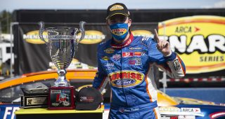 During the ENEOS/NAPA Auto Parts 100 for the ARCA Menards Series on August 7, 2020 at at Evergreen Speedway in Monroe, Washington. Blaine Perkins #9, driver of the Sunrise Ford, took first place. (Lindsey Wasson/ARCA Racing)