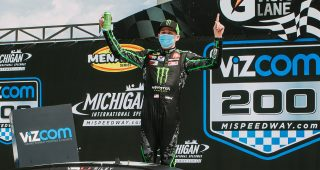 BROOKLYN, MI - August 9: Riley Herbst, driver of the #18 Monster/Terrible Herbst/ORCA Toyota, celebrates his win of the VizCom 200 for the ARCA Menards Series on August 9, 2020 at Michigan International Speedway in Brooklyn, Michigan. (Allison Farrand/ARCA Racing)