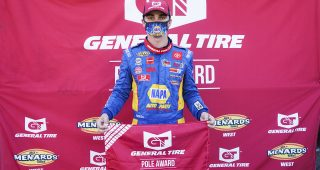 Gio Scelzi, driver of the #16 NAPA Auto Parts/Curb Records Toyota before the ENEOS/NAPA Auto Parts 150 for the ARCA Menards Series West on August 8, 2020 at Douglas County Speedway in Roseburg, Oregon. (Benjamin Green/ARCA Racing)