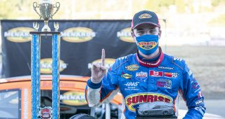 Blaine Perkins, driver of the #9 Sunrise Ford-Four Star Fruit/Lucas Oil Ford celebrates winning the ENEOS/NAPA Auto Parts 150 for the ARCA Menards Series West on August 8, 2020 at Douglas County Speedway in Roseburg, Oregon. (Benjamin Green/ARCA Racing)
