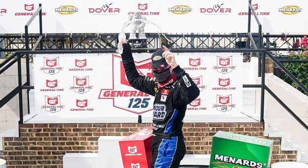 Sam Mayer, driver of the #21 Vince Lombardi Cancer Foundation Chevrolet wins the during the General Tire 125 for the ARCA Menards Series East at Dover International Speedway in Dover, Delaware on Friday, August 21, 2020. (Timothy Nwachukwu/NASCAR)
