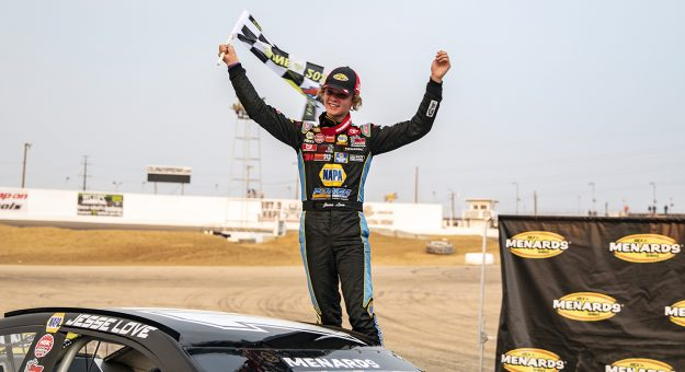 Jesse Love, driver of the #19 NAPA Power Premium Plus Toyota celebrates after winning the ENEOS 150 Presented by NAPA Auto Parts for the ARCA Menards Series West at Colorado National Speedway in Dacono, Colorado, on Saturday, August 22, 2020. (Chet Strange/ARCA Racing)