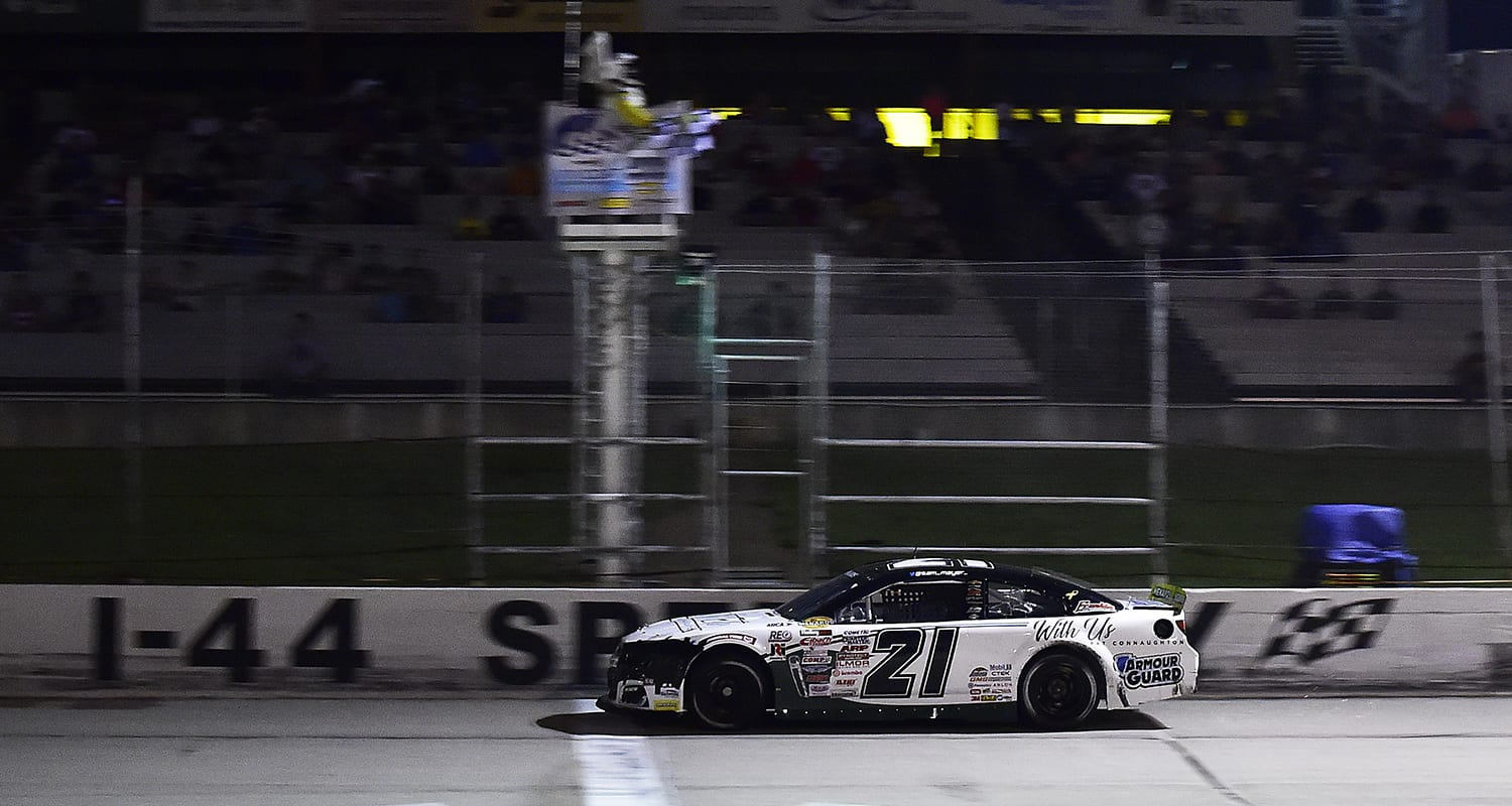 Sam Mayer, driver of the #21 Pat Connaughton With Us Foundation Chevrolet, crosses the finish line to win the Zinsser SmartCoat 200 for the ARCA Menards Series at I-44 Speedway in Lebanon, Missouri on September 5, 2020. (Jeff Curry/ARCA Racing)