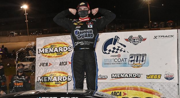 Sam Mayer, driver of the #21 Pat Connaughton With Us Foundation Chevrolet, celebrates after winning the Zinsser SmartCoat 200 for the ARCA Menards Series at I-44 Speedway in Lebanon, Missouri on September 5, 2020. (Jeff Curry/ARCA Racing)