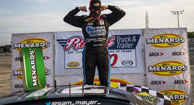 Sam Mayer, driver of the #21 Lynn Family Foundation Chevrolet, celebrates in Victory Lane after winning the Royal Truck & Trailer 200 for the ARCA Menards Series on September 12, 2020 at Toledo Speedway in Toledo, Ohio. (Nic Antaya/ARCA Racing)
