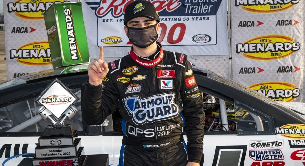 Sam Mayer, driver of the #21 Lynn Family Foundation Chevrolet, participates in the hat dance in Victory Lane during the Royal Truck & Trailer 200 for the ARCA Menards Series on September 12, 2020 at Toledo Speedway in Toledo, Ohio. (Nic Antaya/ARCA Racing)