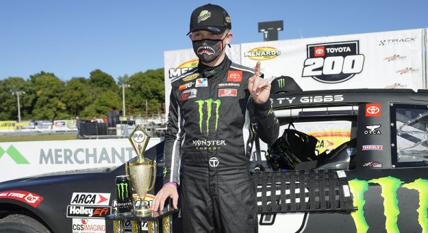 Ty Gibbs, driver of the #18 Monster / Terrible Herbst / ORCA Toyota, after winning the Toyota 200 Presented by Crosley Brands for the ARCA Menards Series at Winchester Speedway in Winchester, Indiana on September 19, 2020. (AJ Mast/ARCA Racing)