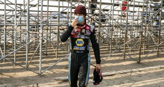Jesse Love, driver of the #19 NAPA Power Premium Plus Toyota walks to his hauler after qualifying first during the ENEOS 150 Presented by NAPA Auto Parts for the ARCA Menards Series West at Colorado National Speedway in Dacono, Colorado, on Saturday, August 22, 2020. (Chet Strange/ARCA Racing)