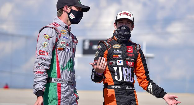 Chandler Smith, driver of the #20 JBL Toyota, talks with Michael Self, driver of the #25 Sinclair Lubricants Toyota, prior to practice for the Zinsser SmartCoat 200 for the ARCA Menards Series at I-44 Speedway in Lebanon, Missouri on September 5, 2020. (Jeff Curry/ARCA Racing)