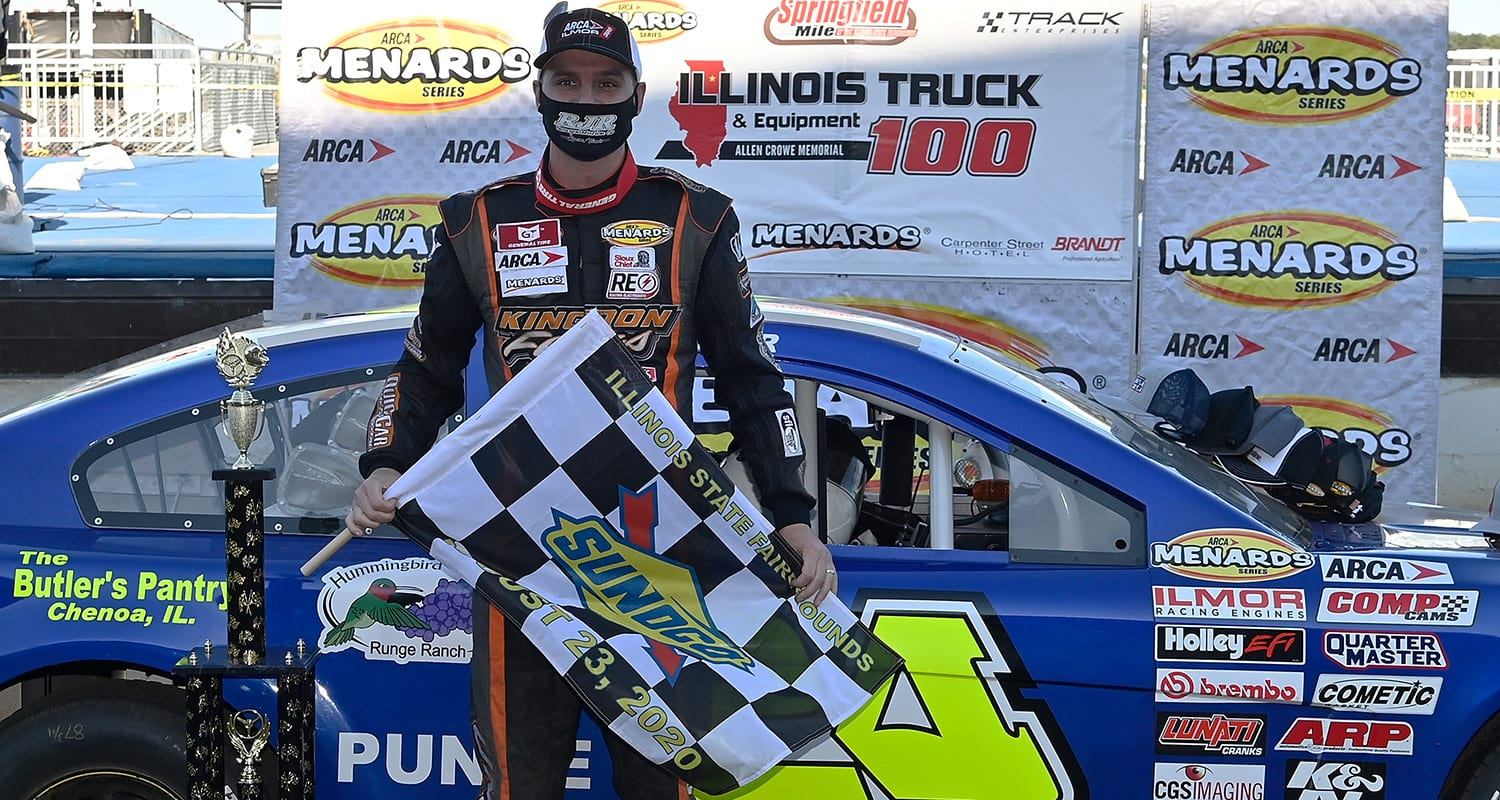 Ryan Unzicker, driver of the #24 RJR Transportation-Hummingbird Winery Chevrolet, poses for a photo after winning the Illinois Truck & Equipment Allen Crowe 100 for the ARCA Menards Series at the Springfield Mile at the Illinois State Fairgrounds in Springfield, Illinois on October 4, 2020. (Jeff Curry/ARCA Racing)