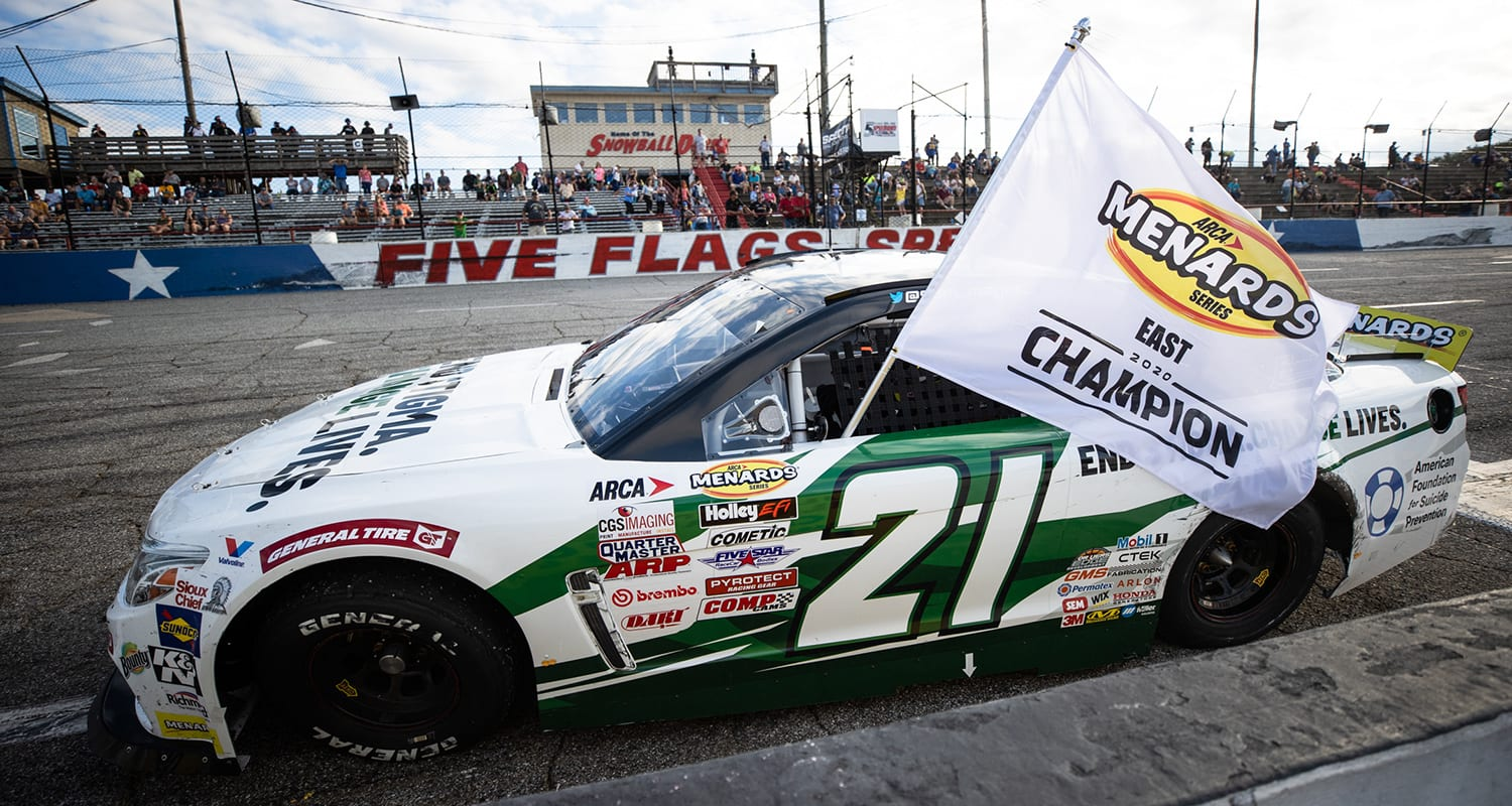 PENSACOLA, FL – Oct. 11: Sam Mayer, driver of the #21 End Stigma, Change Lives Chevrolet, celebrates winning the Pensacola 200 Presented by Inspectra Thermal Solutions and the ARCA Menards Series East Championship in Pensacola, Florida on Oct. 11, 2020. (Morgan Givens/ARCA Racing)