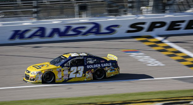 Bret Holmes, driver of the #23 Golden Eagle Syrup Chevrolet during the Speediatrics 150 for the ARCA Menards Series at Kansas Speedway on Friday, October 16, 2020. (Barry Cantrell/ARCA Racing)