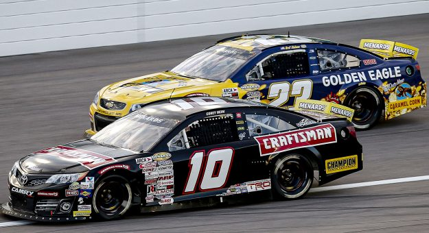 Corey Heim, driver of the #10 Craftsman Toyota and Bret Holmes, driver of the #23 Golden Eagle Syrup Chevrolet during the Speediatrics 150 for the ARCA Menards Series at Kansas Speedway on Friday, October 16, 2020. (Barry Cantrell/ARCA Racing)