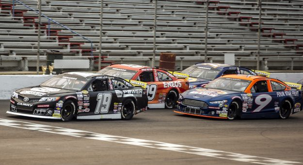 Jesse Love, driver of the #19 NAPA Power Premium Plus Toyota leads the pack down the front stretch during the ENEOS 150 Presented by NAPA Auto Parts for the ARCA Menards Series West at Colorado National Speedway in Dacono, Colorado, on Saturday, August 22, 2020. (Chet Strange/ARCA Racing)