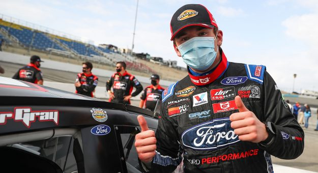 Taylor Gray, driver of the #17 Ford Performance Ford, wins the NAPA 125 held at Kern County Raceway Park as part of the ARCA Menards West Series on Oct. 25, 2020 in Bakersfield, Calif. (Meg Oliphant/ARCA Racing)