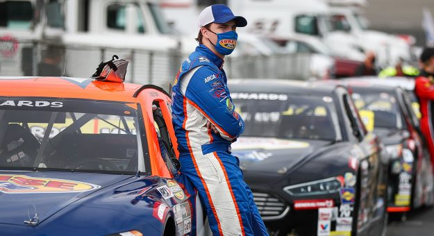 Blaine Perkins, driver of the No. 9 Sunrise Ford/Four Star Fruit Ford, stands with his car ahead of the NAPA ENEOS 125 at Kern County Raceway Park as part of the ARCA Menards Series West on Oct. 25, 2020 in Bakersfield, California. (Meg Oliphant/ARCA Racing)