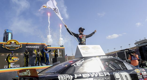 Jesse Love, driver of the No. 19 NAPA Power Premium Plus Toyota, celebrates his championship after the Arizona Lottery 100 for the ARCA Menards Series West at Phoenix Raceway in Avondale, Arizona, on Nov. 7, 2020. (Dominic Valente/ARCA Racing)