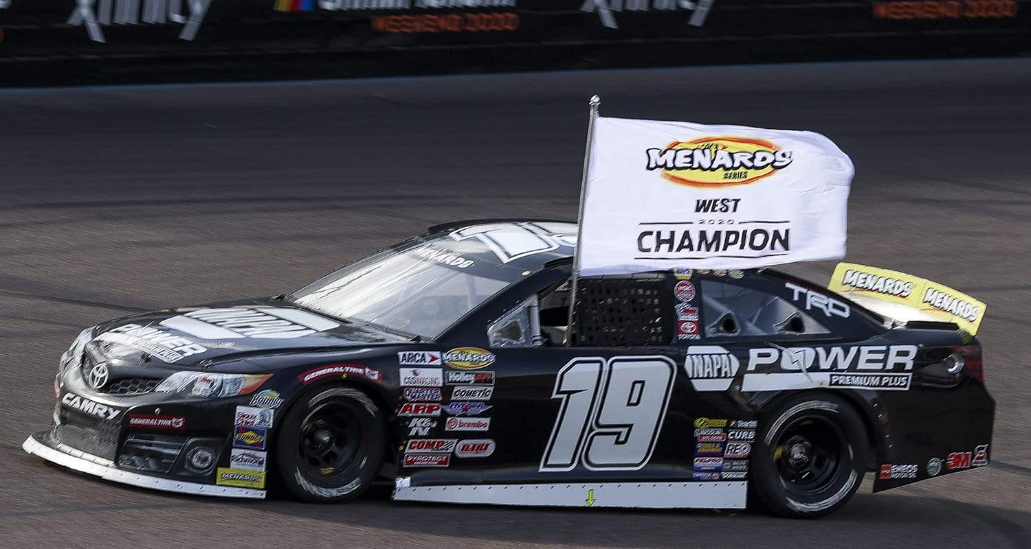 Jesse, Love, driver of the #19 NAPA Power Premium Plus, celebrates his series win at the Arizona Lottery 100 for the ARCA Menards Series West at Phoenix Raceway in Avondale, Arizona on November 7, 2020. (Dominic Valente/ARCA Racing)