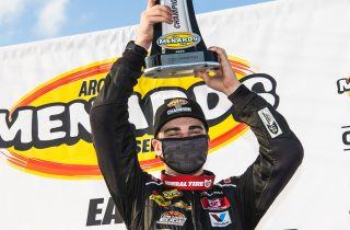 PENSACOLA, FL - Oct. 11: Sam Mayer, driver of the #21 End Stigma, Change Lives Chevrolet, celebrates winning the Pensacola 200 Presented by Inspectra Thermal Solutions and the ARCA Menards Series East Championship in Pensacola, Florida on Oct. 11, 2020. (Morgan Givens/ARCA Racing)
