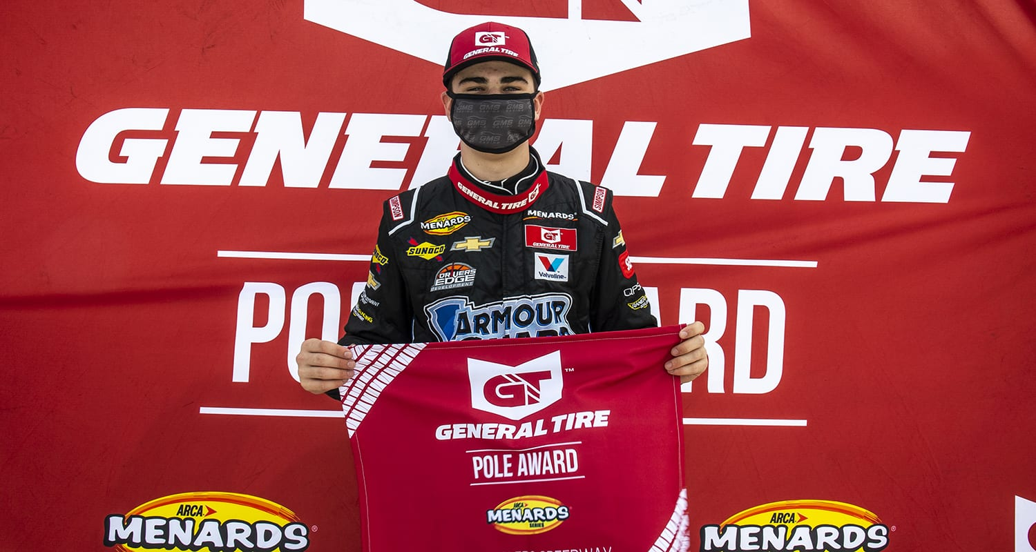 Sam Mayer, driver of the No. 21 Lynn Family Foundation Chevrolet, wins the General Tire Pole Award before the Royal Truck & Trailer 200 for the ARCA Menards Series East on Sept. 12, 2020 at Toledo Speedway in Toledo, Ohio. (Nic Antaya/ARCA Racing)