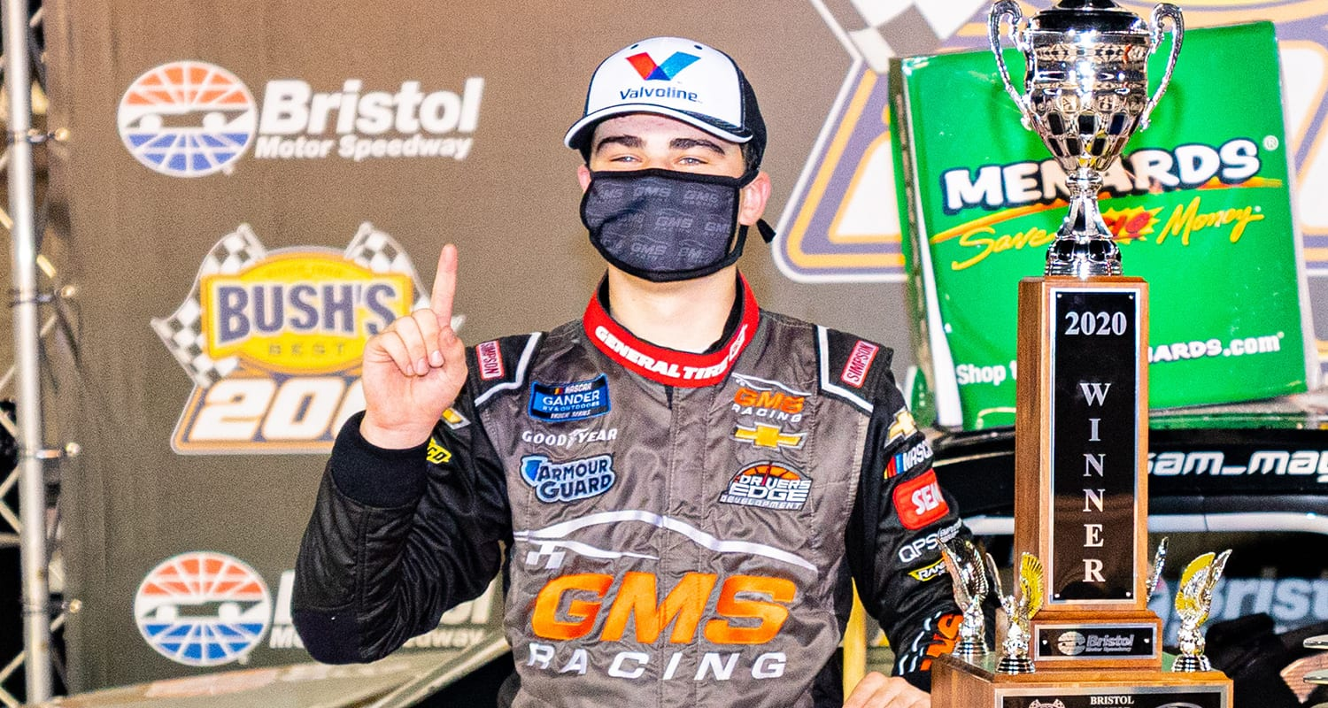 Sam Mayer, driver of the No. 21 Starr Children's Fund Chevrolet, celebrates winning the Bush's Beans 200 at Bristol Motor Speedway for the ARCA Menards Series East in Bristol, Tennessee, on Sept. 17, 2020. (Jacob Kupferman/ARCA Racing)