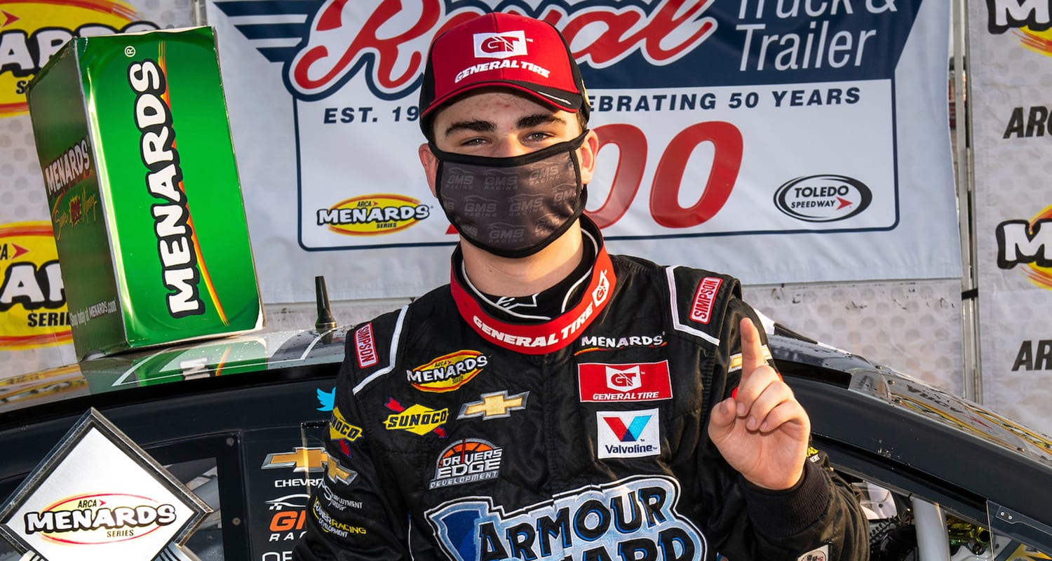 Sam Mayer, driver of the No. 21 Lynn Family Foundation Chevrolet, participates in the hat dance in Victory Lane after winning the Royal Truck & Trailer 200 for the ARCA Menards Series East on Sept. 12, 2020 at Toledo Speedway in Toledo, Ohio. (Nic Antaya/ARCA Racing)