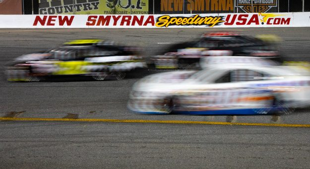 Cars in action during the Skip's Western Outfitters 175 for the ARCA Menards Series East at New Smyrna Speedway in New Smyrna Beach, Florida, on Feb. 10, 2020.(Matt Stamey/ARCA Racing)