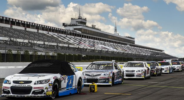 Cars line up on the grid before the General Tire #AnywhereIsPossible 200 for the ARCA Menards Series at Pocono Raceway in Long Pond, Pennsylvania, on Friday, June 26, 2020. (Adam Glanzman/ARCA Racing)