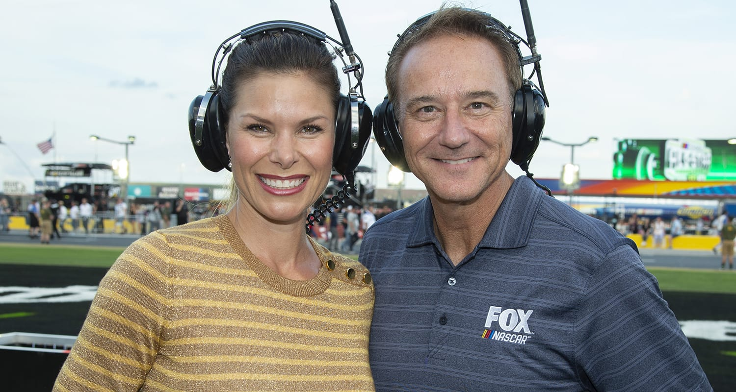 Jamie Little and Vince Welch at the NASCAR Cup Series All-Star Race at Charlotte Motor Speedway on May 19, 2019 in Concord, North Carolina. (William Hauser/Fox Sports)