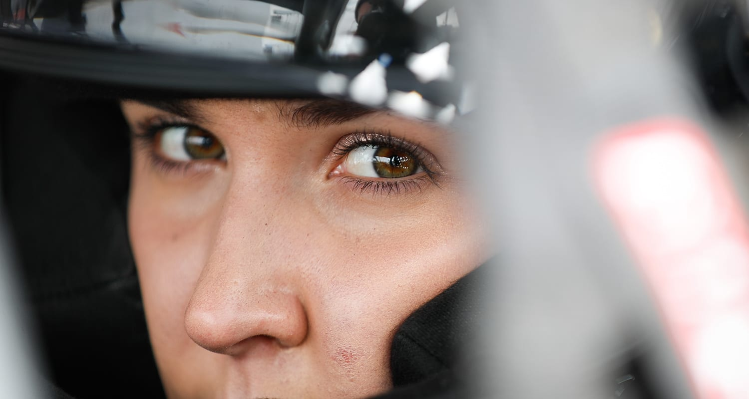 Bridget Burgess pictured before practice for the NAPA Auto Parts Idaho 208 at Meridian Speedway in Meridian, Idaho, on Sept. 28, 2019. (Meg Oliphant/ARCA Racing)