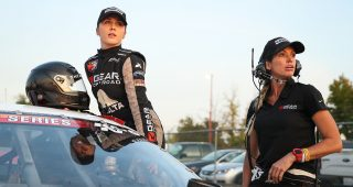Bridget and Sarah Burgess pictured before the NAPA Auto Parts/ENEOS 150 at All American Speedway in Roseville, California, on Oct. 12, 2019. (Meg Oliphant/ARCA Racing)