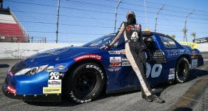 Bridget Burgess pictured before the ENEOS 125 presented by NAPA Auto Parts for the ARCA Menards Series West at Irwindale Speedway in Irwindale, California, on July 4, 2020. (Meg Oliphant/ARCA Racing)