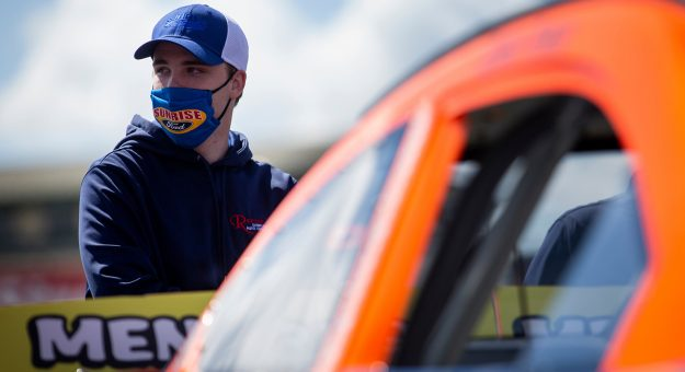 Blaine Perkins, driver of the No. 9 Sunrise Ford/Four Star Fruit/Lucas Oil Ford, pictured before qualifying for the ENEOS/NAPA Auto Parts 100 for the ARCA Menards Series West at Evergreen Speedway in Monroe, Washington, on Aug. 7, 2020. (Lindsey Wasson/ARCA Racing)
