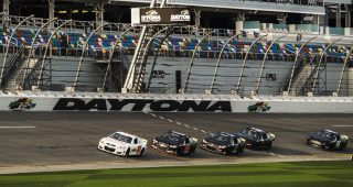 Cars in action during the ARCA Menards Series test at Daytona International Speedway in Daytona Beach, Florida, on Jan. 15, 2021 (Kate Gardiner/ARCA Racing)